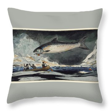 Throw Pillow featuring the painting A Good Pool. Saguenay River by Winslow Homer