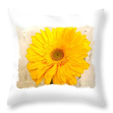 A Grand Yellow Gerber Throw Pillow by Marsha Heiken