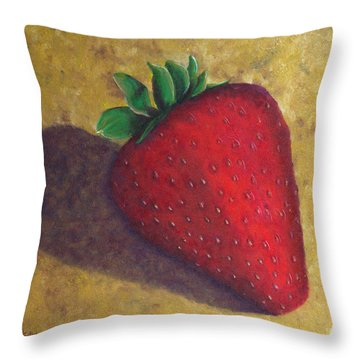 A Great Big Strawberry Throw Pillow by Helen Eaton