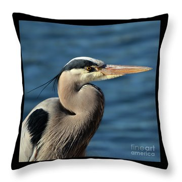 A Great Blue Heron Posing Throw Pillow