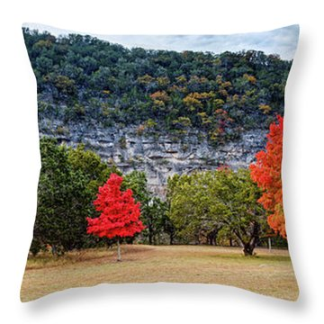 A Great Day For A Picnic Lost Maples - Fall Foliage - Texas Hill Country  Throw Pillow