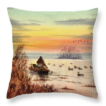 A Great Day For Duck Hunting Throw Pillow by Bill Holkham