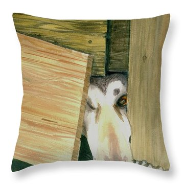Throw Pillow featuring the painting A Great Escape  -variation 2 by Yoshiko Mishina