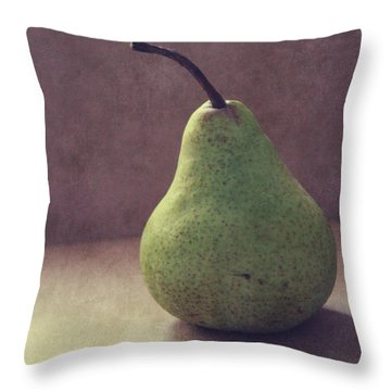 A Green Pear- Art By Linda Woods Throw Pillow