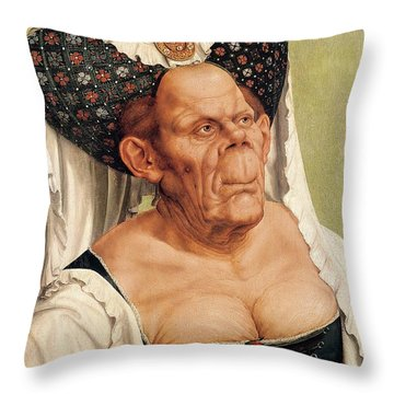 A Grotesque Old Woman Throw Pillow by Quentin Massys