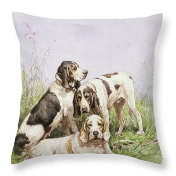 A Group Of French Hounds Throw Pillow by Charles Oliver de Penne