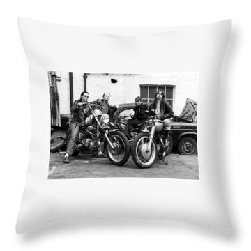 A Group Of Women Associated With The Hells Angels, 1973. Throw Pillow