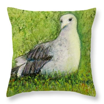 A Gull On The Grass Throw Pillow by Laurie Morgan