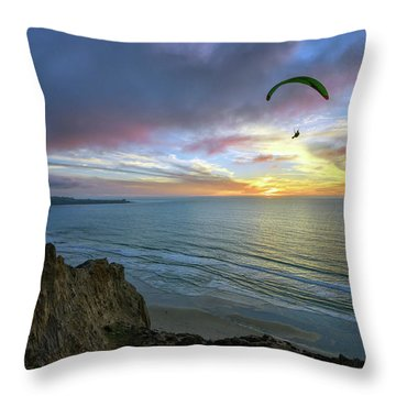 A Hang Glider And A Sunset Throw Pillow