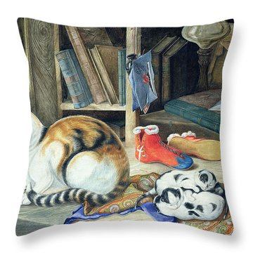 A Happy Family Throw Pillow by William A Donnelly