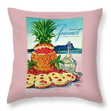 A Hawaiian Scene With Pineapple Slices Throw Pillow