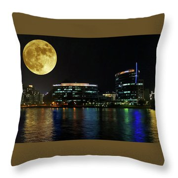 A Hayden Ferry Lakeside Full Moon View, Tempe, Arizona Throw Pillow