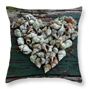 A Heart Made Of Shells Throw Pillow