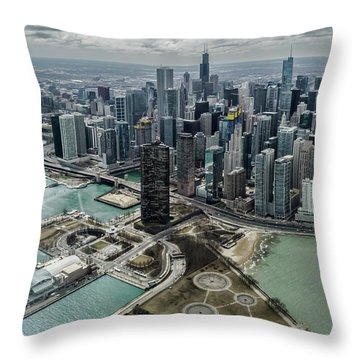 A Helicopter View Of Chicago's Lakefront Throw Pillow
