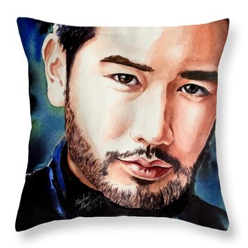 Throw Pillow featuring the painting A Hero's Heart by Michal Madison