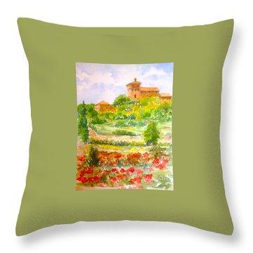 A Hillside Near San Gimignano Throw Pillow