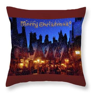 A Hogsmeade Christmas Throw Pillow