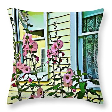 Throw Pillow featuring the digital art A Holly Hocks Morning by Mindy Newman