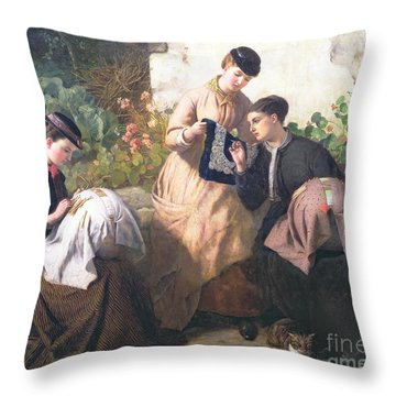 A Honiton Lace Manufactory Throw Pillow by Frederick Richard Pickersgill