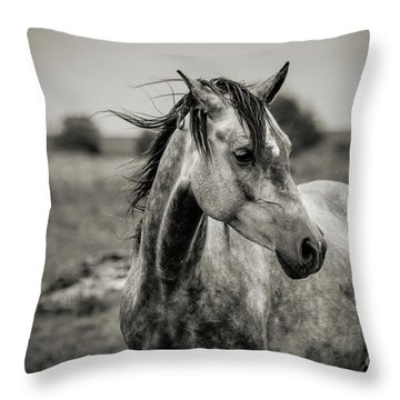 A Horse In Profile In Black And White Throw Pillow