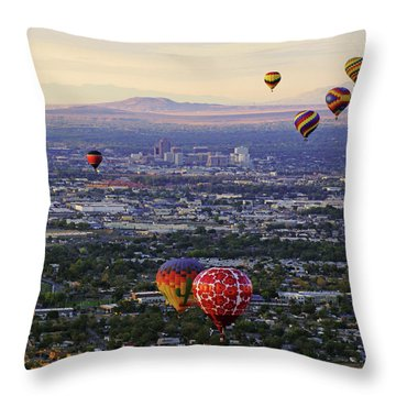 A Hot Air Ride To Albuquerque Cropped Throw Pillow