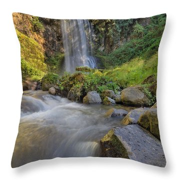 A Hot Sunny Day At Upper Bridal Veil Falls Throw Pillow by David Gn