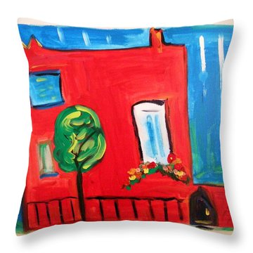 Throw Pillow featuring the painting A House With A Smile To Give by Mary Carol Williams