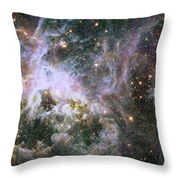 Throw Pillow featuring the photograph A Hubble Infrared View Of The Tarantula Nebula by Nasa