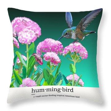 A Hummingbird Visits Throw Pillow