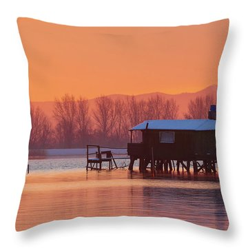 A Hut On The Water Throw Pillow