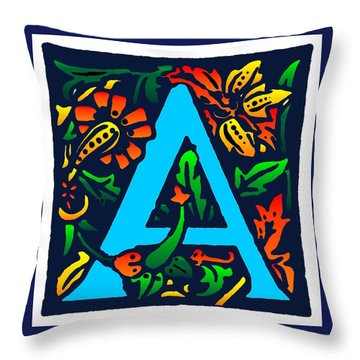 A In Blue Throw Pillow by Kathleen Sepulveda