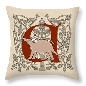 Throw Pillow featuring the digital art A Is For Aardvark by Donna Huntriss