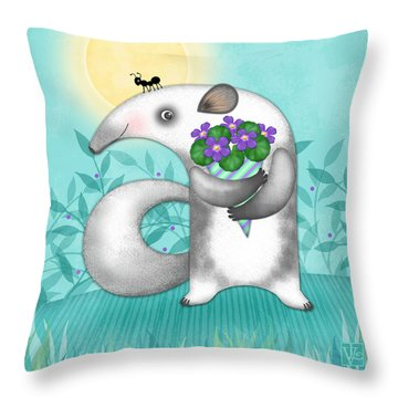 A Is For Anteater Throw Pillow