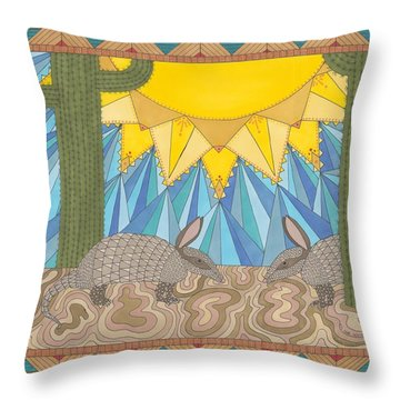 A Is For Armadillo Throw Pillow