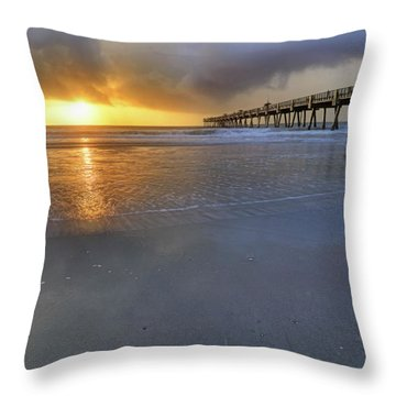 A Jacksonville Beach Sunrise - Florida - Ocean - Pier  Throw Pillow