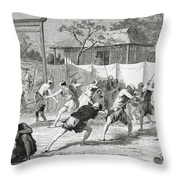 A Japanese Fencing School In The 19th Throw Pillow