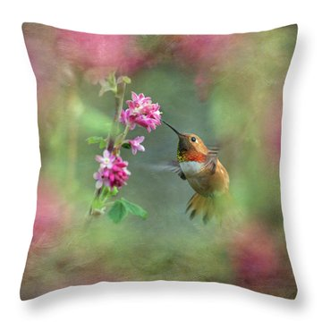 Throw Pillow featuring the photograph A Jewel In The Flowers by Angie Vogel