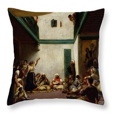 A Jewish Wedding In Morocco Throw Pillow by Ferdinand Victor Eugene Delacroix