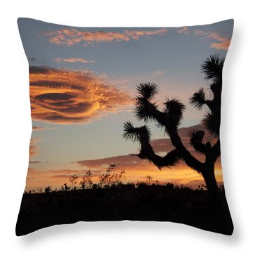 A Pair Of Joshua Tree And Lenticular Clouds I Throw Pillow
