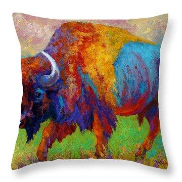 A Journey Still Unknown - Bison Throw Pillow