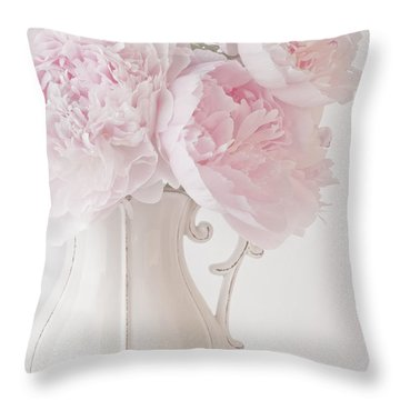 A Jug Of Soft Pink Peonies Throw Pillow