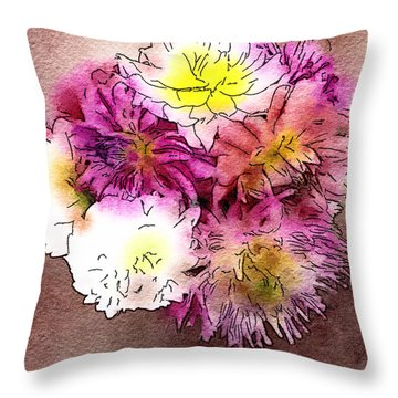 Throw Pillow featuring the photograph A Jug Of Summer Dahlias 2 by Ronda Broatch