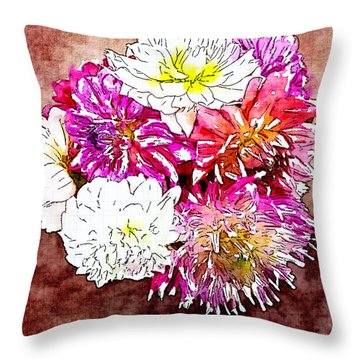 A Jug Of Summer Dahlias 3 Throw Pillow