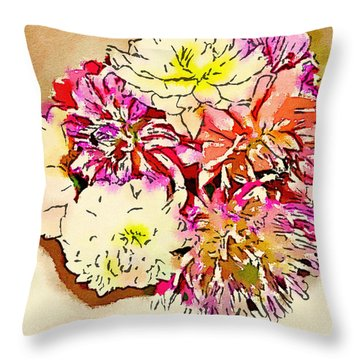 A Jug Of Summer Dahlias Throw Pillow