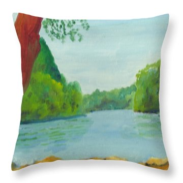 A June Day At Hidden Falls Throw Pillow