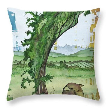 A Kale Leaf And A Little Bird Throw Pillow by Carolyn Doe
