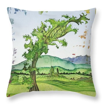 A Kale Leaf Visits The Country Throw Pillow by Carolyn Doe