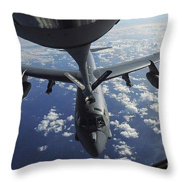 A Kc-135 Stratotanker Aircraft Refuels Throw Pillow by Stocktrek Images