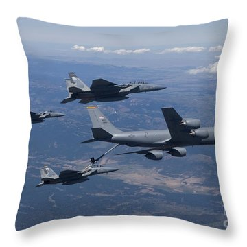 A Kc-135r Stratotanker Refuels Three Throw Pillow by HIGH-G Productions