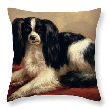 A King Charles Spaniel Seated On A Red Cushion Throw Pillow by Eugene Joseph Verboeckhoven